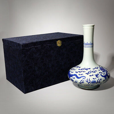 "10.6""H Vintage Chinese Antiques Blue And White Porcelain Dragons Vases AB233"