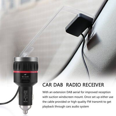 Car DAB Radio Receiver Tuner FM Transmitter Antenna USB For iPhone Android