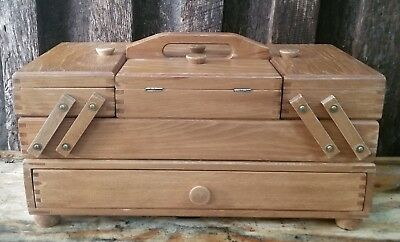 Vintage Accordion Fold Out Wood Sewing Box Dovetailed  Sewing Crafts Jewelry