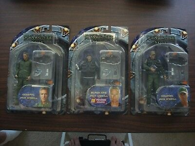 STARGATE SG1 Figures - Lot of 3 - COLONEL GENERAL & BLACK OPS JACK O'NEILL NIB