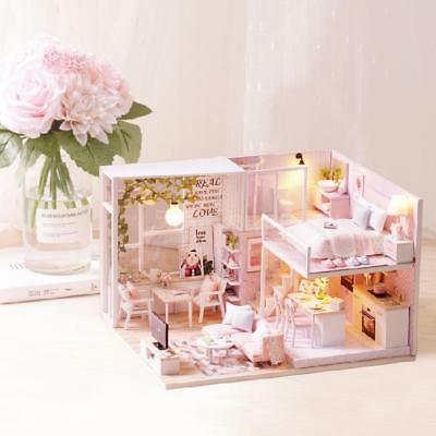 DIY Miniature Loft Dollhouse Kit Realistic Mini 3D Pink Wooden House Room K3O8