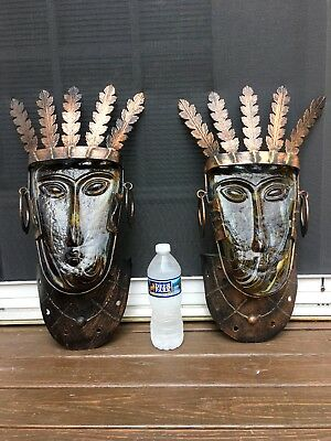 Rare Mexican Aztec Tribal Art Glass Mask Wall Mount Candleholder - One Pair