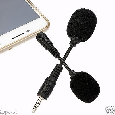 Black Mini Stereo Microphone 3.5mm Mic Laptop Notebook Mobile Cell Phone Gifts