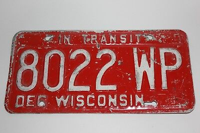 White on Red metal Wisconsin WI In Transit License Plate 1979 8022 WP vintage