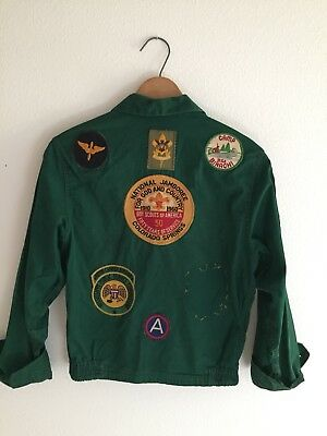 Boy Scouts Vintage 50s 60s Green Official Jacket Patches S Small
