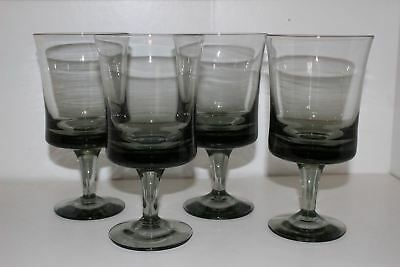 "4 Vintage 1970's Denby Arabesque Grey/gray Glass 6.5"" Water Goblets"