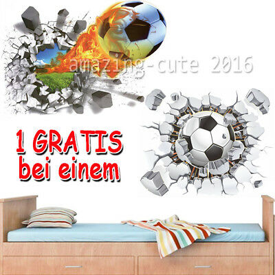 Fussball Wandtattoo 2 In 1 3d Wandsticker Kinderzimmer Kind Ball