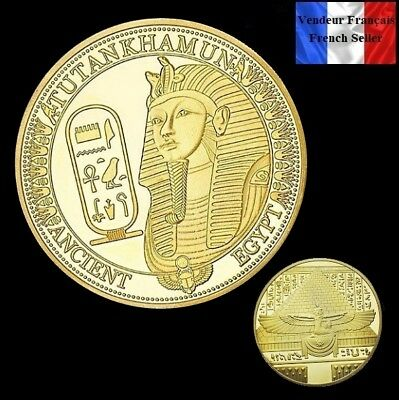 1 Pièce plaquée OR ( GOLD Plated Coin ) - Toutankhamon Sphinx Egypte Pyramides