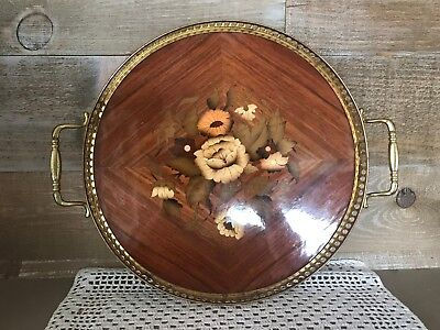 Vintage Wooden Inlay Serving Tray with Brass Handles