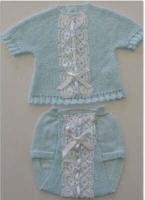 Beautiful BNWT Unisex Spanish Baby blue 2 piece Outfit size 3 Months