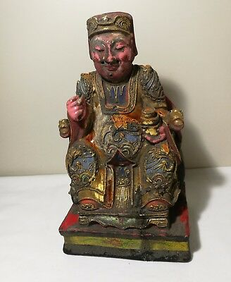 Collectable hand carved gilt and painted wooden Chinese Buddha H25cm