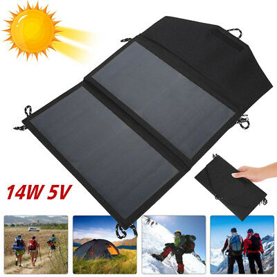 14W 5V Solar Panel Battery Charger Outdoor Power Bank fr Hiking Camping Foldable