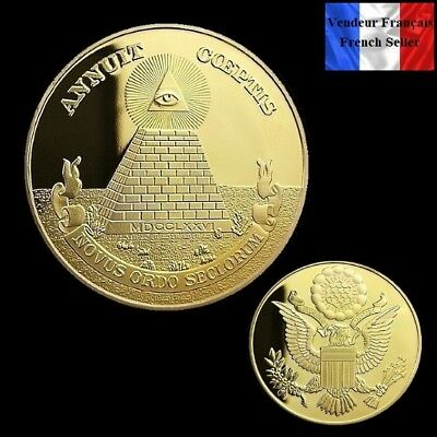"1 Pièce plaquée OR ( GOLD Plated Coin ) - Illuminati "" Annuit Coeptis """