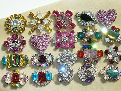 20x  PRECIOZA 1960s ANTIQUE VINTAGE RHINESTONES LOT OF GLASS BUTTONS  A129