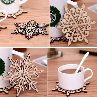 2Pcs Wooden Carved Snowflake Mug Coasters Chic Holder Coffee Tea Drinks Cup Mat