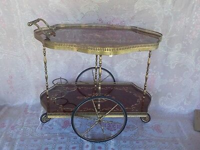 Vintage Antique Italian inlaid Drinks cart Tea Trolley, Bar, Made in Italy, old