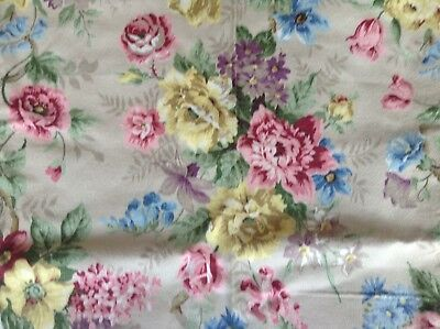 """Vintage 40's 50's Sanderson Wentworth Fabric  Roses Shabby Chic Unused 88"""" X48"""""""