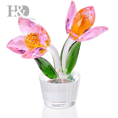 H&D Crystal Tulip Flowers Figurine Collectable Wedding Favor Ornament Lady Gift