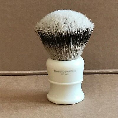 Maseto Shaving 30mm FAN Silvertip Badger Shaving Brush & Ivory Resin Handle