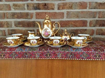 Vintage hand painted, gold plated Bavaria Coffee Set (6 persons, 1940)