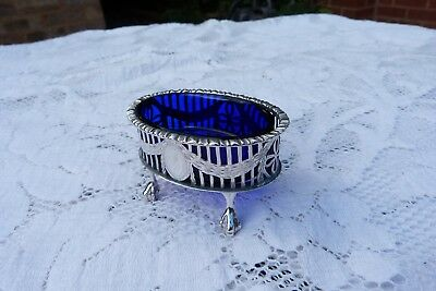 Edwardian Silver Salt Cellar Blue Liner London / 1909 20th Century / Sterling