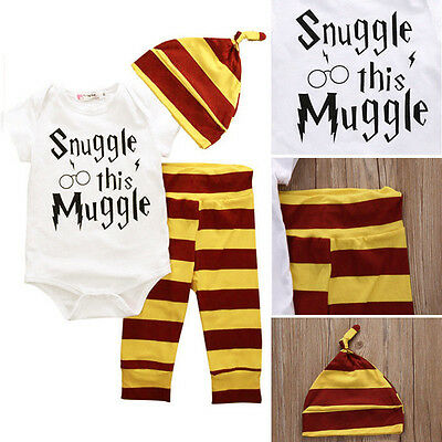 AU 3PCS Harry Potter Snuggle This Muggle Baby Clothes Top Pants Beanie Outfit