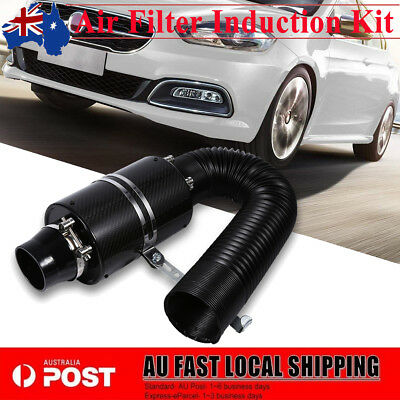 "Universal Carbon Fiber Cold Air Intake System 3"" Filter Box Induction Pipe Kit"