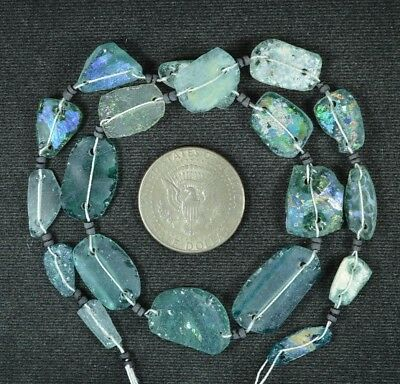 Ancient Roman Glass Beads 1 Medium Strand Aqua And Green 100 -200 Bc 947