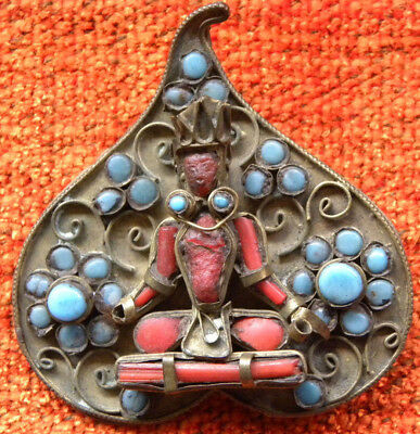 BUDDHA BROOCH CORAL TORQUOISE VTG PIN middle 20th PIPAL LEAF SHAPE SPILLA BUDDA