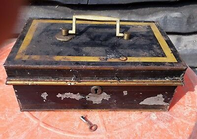 Vintage Metal Cash Box/Tin With Removable Tray & Original Key