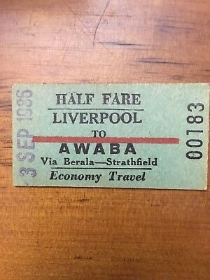 NSW Railway Ticket - Awaba 1986