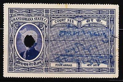 Indian Princely State Khaniadhana Rare Cf Revenue Rare Fiscal Stamps #c2
