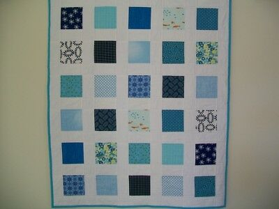 HANDMADE Patchwork Baby Boy Cot Quilt - Blue prints w White Background