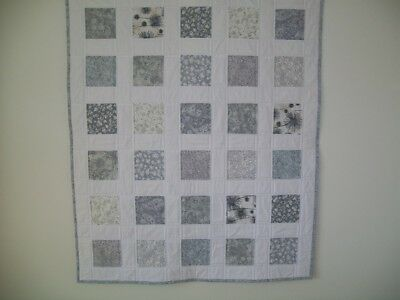 HANDMADE Patchwork Baby Cot Quilt - Light Grey prints w White Background