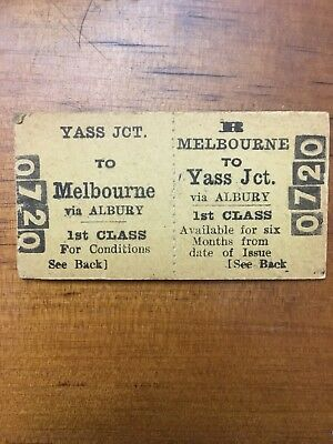 NSW Railway Ticket - Yass - Melbourne Second Class 1950s
