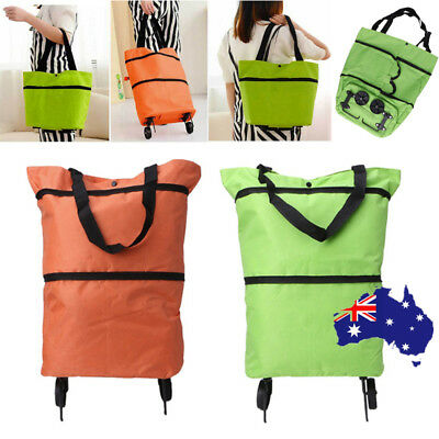 Shopping Cart Carts Trolley Bag Foldable Bags Luggage Wheels Folding Basket Pull