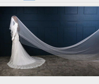 1.5-5m Bridal Wedding Lace Photo Party White Ivory 1 Tier Long Veil