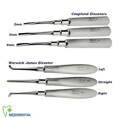 6 Surgical Warwick James Dental Tooth Extraction Coupland Root Elevators set New