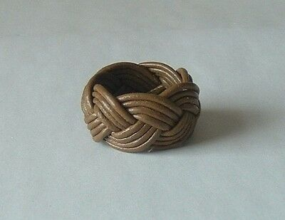 Scout Woggle Leather Turks Head Hand Made From Round Natural Leather