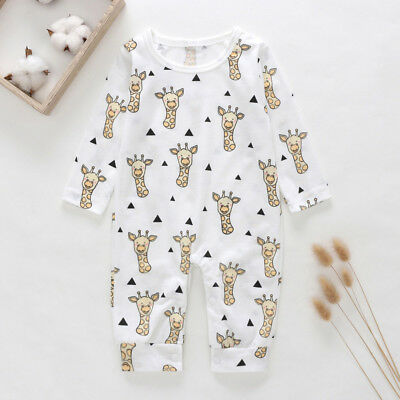 Infant Baby Cartoon Giraffe Long Sleeve O Neck Cotton Romper Jumpsuit Stunning