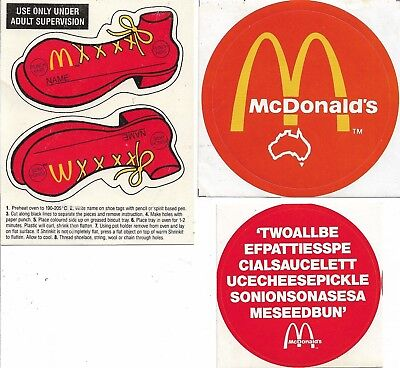 2 x Vintage McDonald's Stickers & Oven Shrink Name Tags