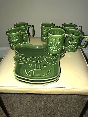 Hall china Green Giant plates and cups