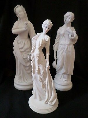 Lot Of Continental Classical Figures, Elegant Bilessi Signed Lady. (3 In Total)