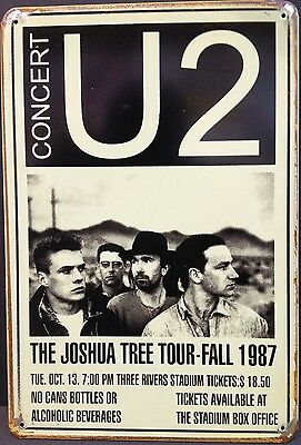 U2 1987 Vintage Retro Metal Tin Sign Plaque Home Decor Studio Pub Garage Room