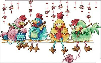 Chickens Knitting A Sweater. 14CT Counted Cross Stitch Kit. Craft Brand New.