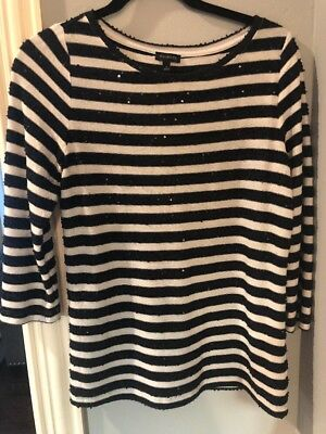 Sequined 3/4 Sleeves S Small white dressy top Talbots Womens Shirt Black Striped