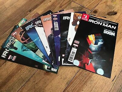 Marvel Comics Infamous Iron Man Lot #1 - 8, 10, 12 (10 Comics In Total) Bendis