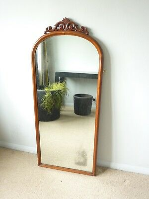 Large Antique Victorian Mahogany Wall/floorstanding Mirror, vintage floor mirror