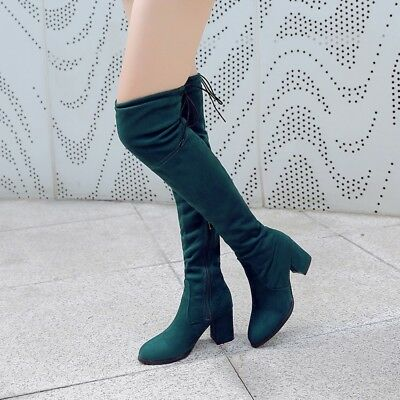Ladies Block Heels Pointed Toe Over Knee Boots Thigh High Lace up Side Zip Shoes