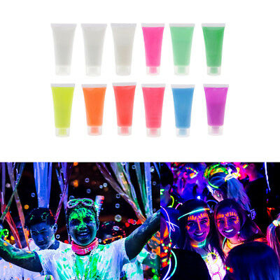 12 Color UV Glow Neon Face Painting Tube Fluorescent Body Paint Party Makeup